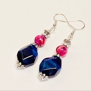 Blue Tiger Eye & Pink Crazy Lace Agate Earrings